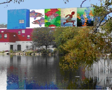 Spy Pond Mural  Artists:  Lydia Genard, Jordawn Moses, Claire Stevens-Luneau, Jobada Kachi  Location: Arlington Boys & Girls Club  Funded by: Arlington Public Art with donations from the public
